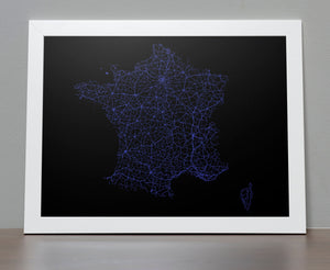 Road map of France Poster