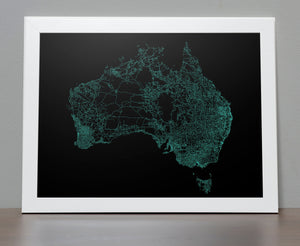 Road Map of Australia - All the roads poster