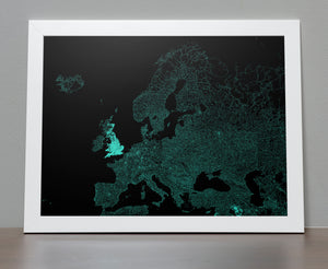 Road Map of Europe - All the roads poster