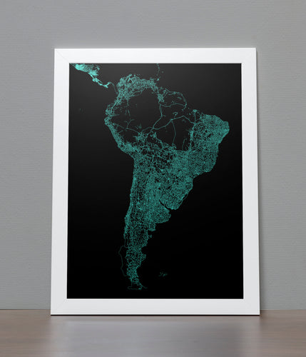 Road Map of South America poster
