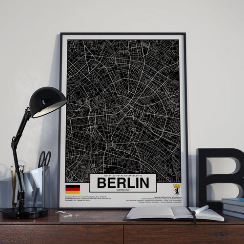 Berlin Germany - GPS Map Poster