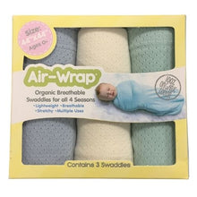 Load image into Gallery viewer, Woombie Old Fashioned Organic Air Wrap 3PK - Mint/Cream/Light Blue