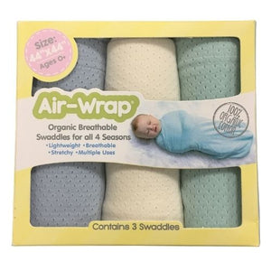 Woombie Old Fashioned Organic Air Wrap 3PK - Mint/Cream/Light Blue