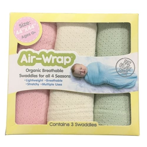 Woombie Old Fashioned Organic Air Wrap 3PK - Light Pink/Cream/Light Green