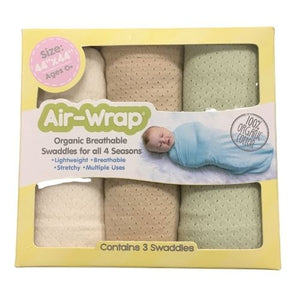 Woombie Old Fashioned Organic Air Wrap 3PK - Light Green/Light Cocoa/Cream