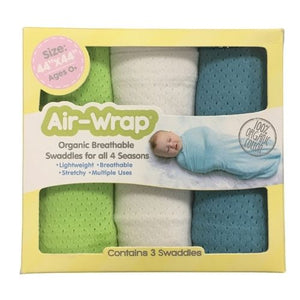 Woombie Old Fashioned Organic Air Wrap 3PK - Blue/White/Lime