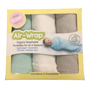 Woombie Old Fashioned Organic Air Wrap 3PK - MintWhite/Grey
