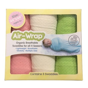 Woombie Old Fashioned Organic Air Wrap 3PK - Pink/Cream/Lime