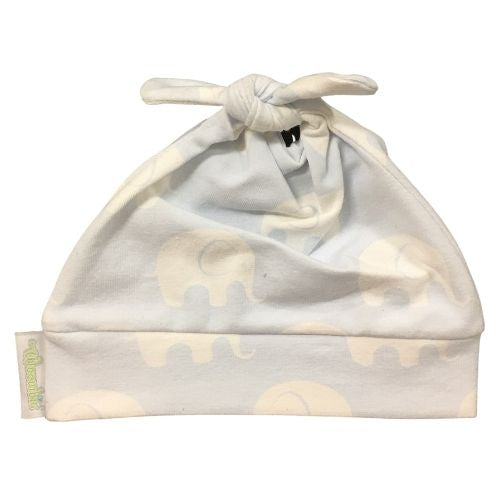 Woombie Cotton Beanie - Blue Elephant 0-6M