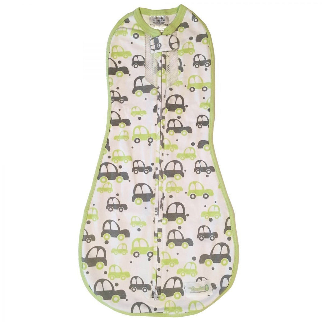 Woombie Air Swaddle - Green Grey Cars - Newborn 2.5-6kg (Clearance)