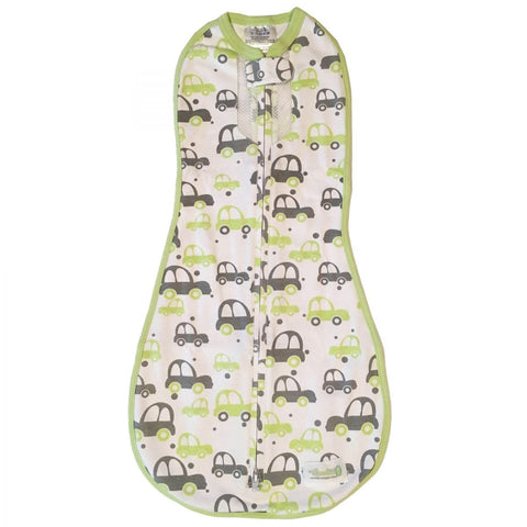 Woombie Air Swaddle - Green Grey Cars - Newborn 2.5-6kg