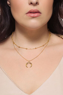 Love Crescent Moon Necklace