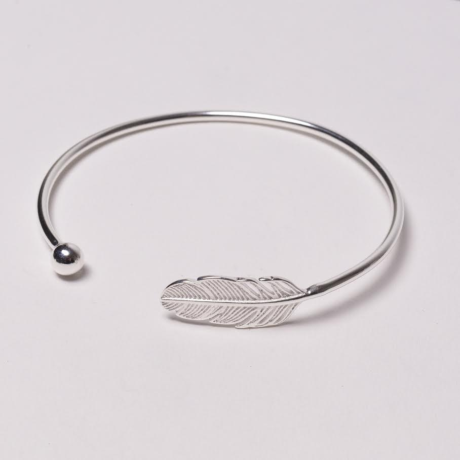 Love Sterling Silver Feather Bracelet