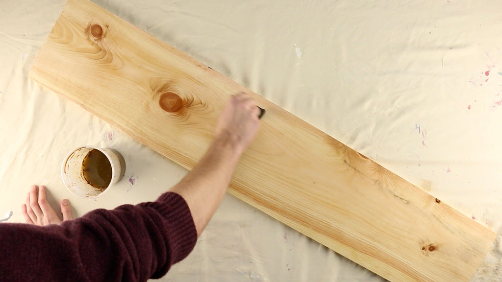 Apply the vinegar stain and let your board dry overnight