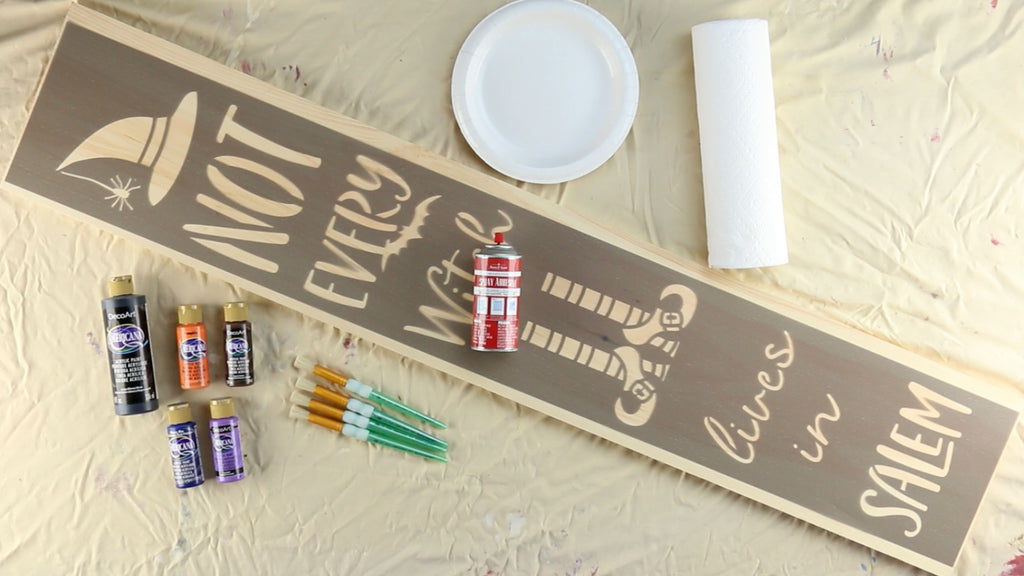 Here are the supplies you'll need to stencil the Halloween Porch Stencil