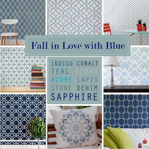 Blue Wall Stencil Ideas