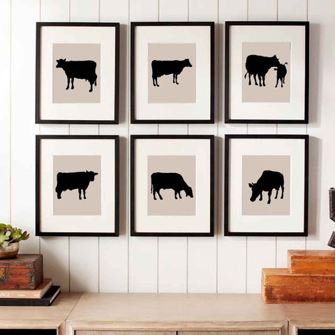 Cow Stencils painted in framed art