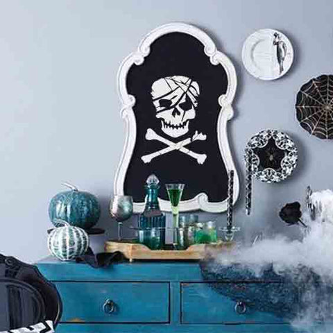 Scarred Skull and Crossbones Stencil Chalkboard