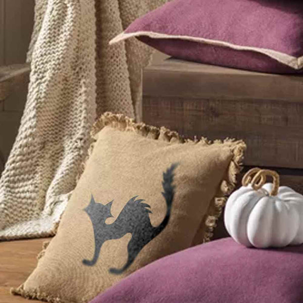 Cat Burlap Pillow
