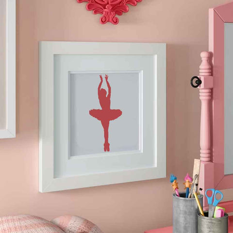 Ballet Dancer Stenciled in Frame for Wall Art