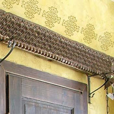 Wall painted with Medieval Medallion Accent Stencil