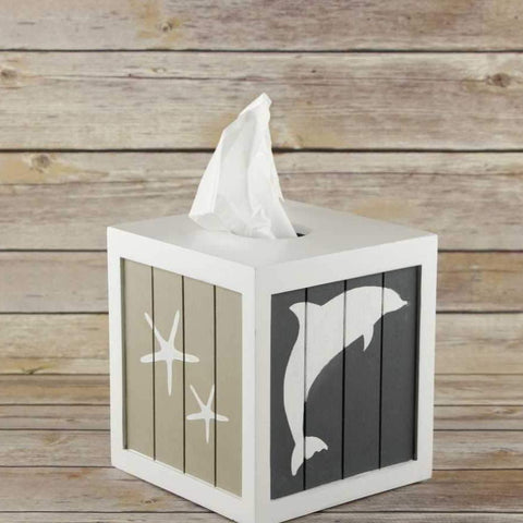 Dolphins Stencils painted on Tissue Box