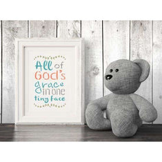 God's Grace Stencil framed artwork