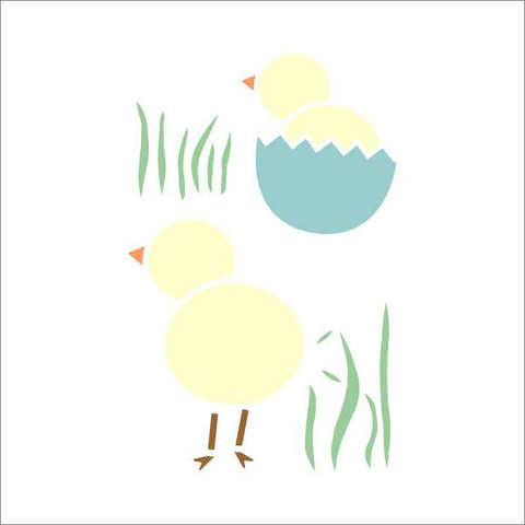 Easter Chicks Wall Stencil
