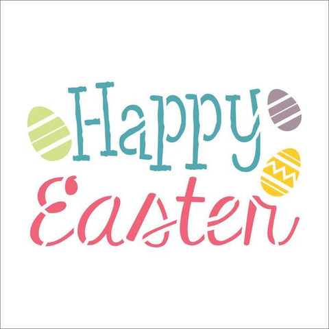 Happy Easter Eggs Wall Stencil