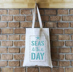 Seas the Day Fabric Stencils on Tote Bag