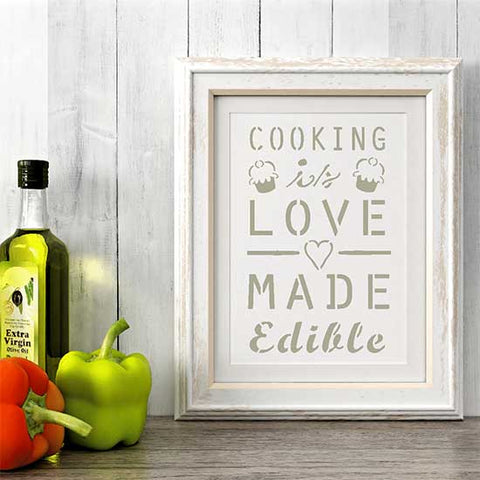 Cooking is Love Made Edible Stencil Framed Artwork