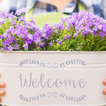 Welcome Stencil planter