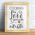 Cooking is Love Made Edible 2 Stencil framed Artwork