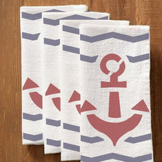 Anchor Stencil stenciled on Napkins