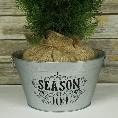 Season of Joy Holiday Stencil Planter Bucket