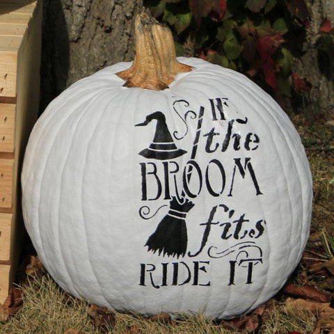 If the Broom Fits Halloween Stencil