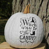 Witch Way to the Candy Stenciled Pumpkin