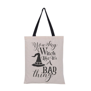 You Say Witch Halloween Stencil Bag