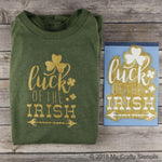 Luck of the Irish Stencil cut-outs shown in white
