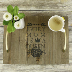 Queen Mom Stencil on Wooden Tray