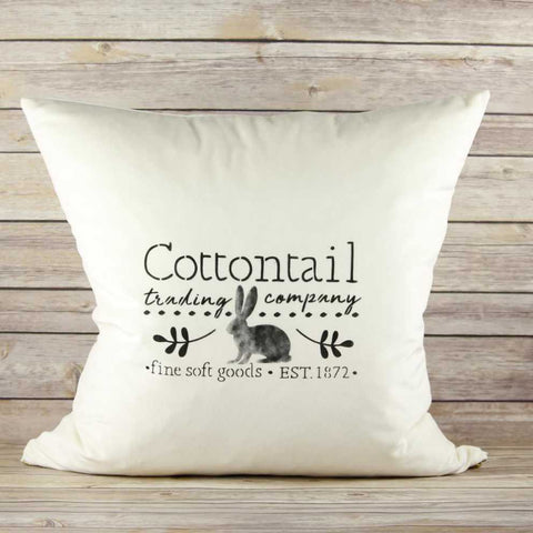 Cottontail Trading Stencil on Pillow
