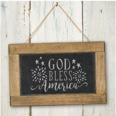 God Bless the USA on a chalkboard