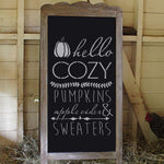 Hello Cozy Pumpkins on a Chalkboard