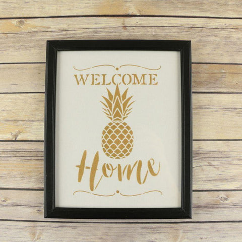 Welcome Home Stencil Pineapple Framed Artwork