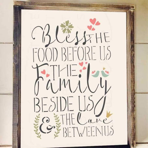 Bless the Food Before Us Stencil framed artwork