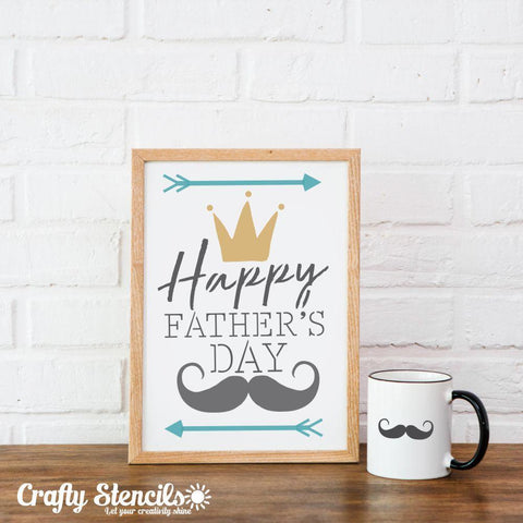 Happy Father's Day Stencil cut-outs shown in white
