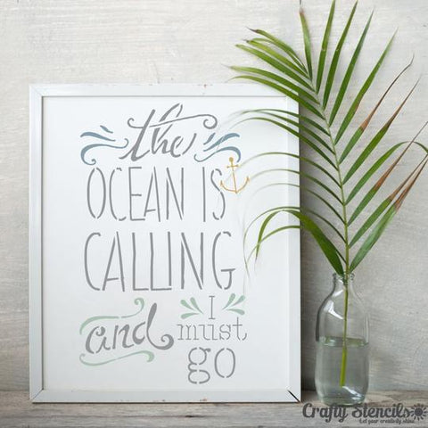 The Ocean is Calling Expression Stencil framed Artwork