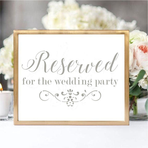 Reserved for Wedding Party Wedding Sign Stencil