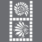 Shell Tiles Border Wall Stencil