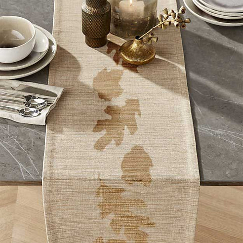 Table Runner with Fall Leaves Stencil